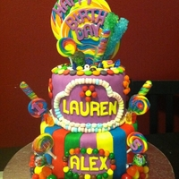 Candy Cake!   They wanted ALLLL candy. Nothing recreated out of fondant.. all the real thing.