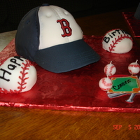 Baseball Cap Cake Ball cap cakes for twin boys who love the Boston Red Socks! Baseball cupcakes covered w buttercream.