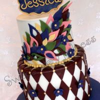Jewel Tone Birthday Cake Tim Burton's Alice in Wonderland style birthday cake in jewel tones and name plaque.