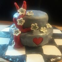 My Ninth Anniversary Cake Cake was first buttercreamed, then i added a patch of red fondant, which went under the heart cut-out on the top layer of fondant. The...
