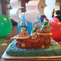 Veggie Tales Birthday Cake Ship is fondant covered. Characters are gumpaste. Ocean is blue vanilla bean frosting.