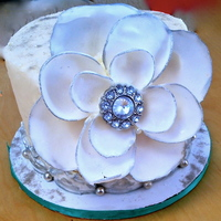 Winter White Fantasy Rhinestone Flower Birthday AppleMark