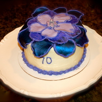 Birthday Cake Blue and purple ombre flower cake