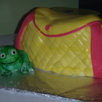 Birthday Cake Se wanted a frog, pink and yellow, and this is what I came up with. She was happy so I guess it worked.