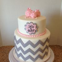Chevron Baby Shower Cake Bottom tier was a double barrel cake (6 inches tall) the top tier was 4 inches tall.