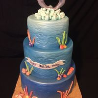 Dolphin Birthday Cake   dolphin topper is made from gum paste