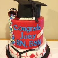 "Graduation From Nursing School This is a 10"", 8"" double barrel, and 6"" graduation hat. Everything is fondant or modeling chocolate"