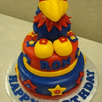 Ku Jayhawk Cake MMF covered vanilla cake. The Jayhawk is a rice krispy structure covered with fondant.