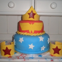 Wonder Woman Cake Top cake is dark chocolate with chocolate buttercream, bottom cake is almond cake with buttercream. All decorations are fondant. Many...