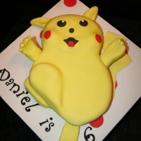 Pikachu A Madeira sponge, a vanilla frosting and covered with fondant.