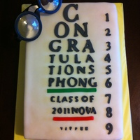 Optometry Eye Exam Chart Graduation Cake Graduation cake for my brother who graduated from college of optometry. This is one of those eye exam charts. Flat sheet cake covered in...