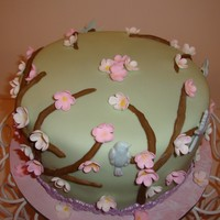 Cherry Blossom Made this for my friends birthday tomorrow. Chocolate cake with banana filling and icing. Used new Wilton mold for branched, birds and...