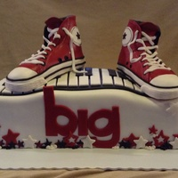 "Converse High Tops Made for a cast party for the musical ""big"". Converse shoes made from rk, cake chocolate with vanilla bc all covered in mf. Shoes..."