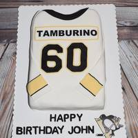 Let's Go Pens This was a Pittsburgh Penguin's jersey cake that I made for a friends Uncle's 60th birthday