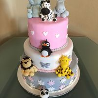 Zoo Themed Baby Shower Cake This was a zoo themed baby shower cake for a girl that works at the Pittsburgh Zoo and PPG Aquarium