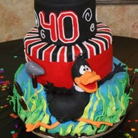 Duck Hunting Duck Hunt NC State 40 TH Birthday. Duck, Fondant over Rice Crispy treats, You can't really see it but the duck is fleeing a hunters...