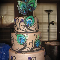 Peacock Wedding Small Peacock Wedding Cake, Gumpaste Feather Topper, red candy jewels, Latte luster