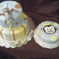 First Birthday Cake Smash Cake and 2 tier Monkey Cake