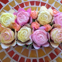 Rose Cupcake Basket Anniversary gift of rose cupcakes in a red ceramic breadbasket!