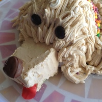 Doggy Cake So this dog cake looks a lot more like the yarn dog stuffed animals from the 70's!