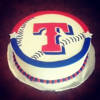 Texas Rangers Cake   Texas Rangers Cake. Fondant decorations with buttercream icing.