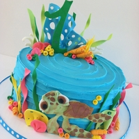 Sea Turtle 1St Birthday Cake! Vanilla/almond cake with vanilla buttercream. Gumpaste accents.