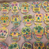 Dia De Los Muertos Sugar Cookies Royal icing transfers with vegan sugar cookies.