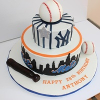 Mets And Yankees Theme Cake Mets and Yankees theme cake