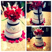 My First Wedding Cake It Was Mmf Covered With Real Flowers The Diamonds Are Made From Mmf Glazed With Melted White Chocolate And Then To *My first wedding cake. It was MMF covered with real flowers. The diamonds are made from MMF glazed with melted white chocolate and then...