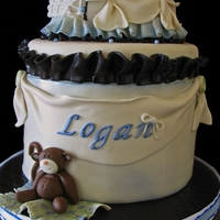 "Logan's Baby Shower Sweet little baby shower cake for a dear friend expecting her baby ""Logan"" in October. Cake was Dark chocolate fudge with..."