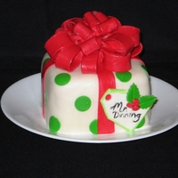 "Christmas Gift Cake This is a small 5"" square cake. I made multiples of this cake for all my kids' teachers for Christmas. It's a two layer..."