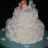 Snow Family Cake This was such a fun cake to make. =)The snowmen were made with marshmallow fondant and the snowflakes were royal icing. TFL!