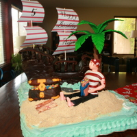 Pirate Birthday Cake This is the cake I made for my son's 5th birthday. It was only my second fondant cake and my first time sculpting a figure (and...