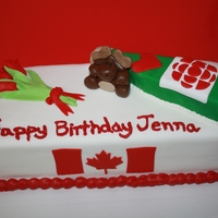 <3 Canada birthday cake for a girl that loves Canada,CBC, champagne and tulips