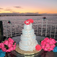 Beach Wedding Cake I made this cake for my wedding I was going for a ocean wave theme with seashells and sand the cake was Pina Colada