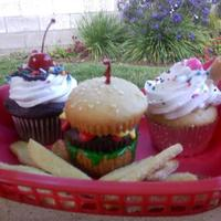 Hamburger, Fries, Milkshake, And Fudge Sundae  For a friends barbeque. Vanilla Milkshake: Vanilla WASC filled with vanilla cream. Fudge sundae filled with vanilla mousse and chocolate...