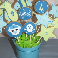Octonauts Report To Hq - Lucas Is 4! Cookie bouquets to go with my son's Octonauts cake.