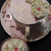Cup-Cake And Cupcakes! I made this cake in a teacup, with matching cupcakes, using the design on the cup, saucer and cake stand. The buttercream cupcakes need a...