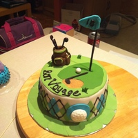Golf Trip vanilla cake with caramel filling and caramel meringue buttercream, fondant