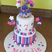 Princess Cupcake 5 and 7 in 2 tiers cake i made for my daughter's 7th birthday party. it was all chocolatei also did a cupcake decorating party and we...