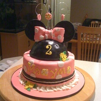 Minnie Mouse Birthday Cake 8 in chocolate cake with dulche de leche filling and chocolate meringue buttercream, fondant