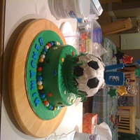 Soccer Ball 8 in vanilla cake with caramel filling and vanilla meringue buttercreamrice krispies soccer ball
