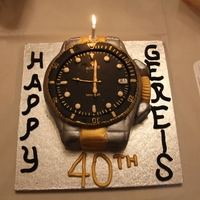 Rolex Cake For Hubby's 40Th A Hersheys chocolate cake with special bc icing (recipe from here on cc) covered in fondant.