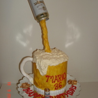 Beer Mug & Peanuts Birthday Cake A cake I made for my brother-in-law's birthday. Used the Hershey's Perfect Chocolate cake recipe from here, and the French...
