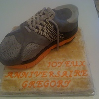 "Running Shoe Cake A cake representing many firsts for me... my first ""order"" for my friend's husband's birthday... my first ever carved..."