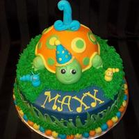 "Turtle This adorable cake was made for a little boys 1st birthday. The turtle is a 6"" cake and was frosted in buttercream and used as the..."