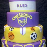 Temple Crusaders Graduation Cake Massive tiered cake for grad party.
