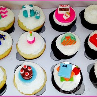 Themed Cupcakes Gift box, Chick fil a, cheerleading, purse, shopping, cake, & book cupcake toppers