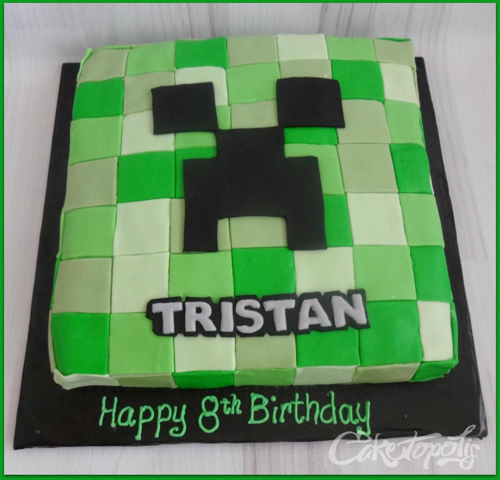 "Minecraft Creeper Face Birthday Cake 10"" Creeper Minecraft cake"