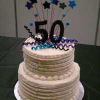 "50Th Birthday 2-tiers (8"" & 10"") Vanilla Butternut Pound Cake with Vanilla Buttercream Icing. Fondant decorations. Design inspired by a..."